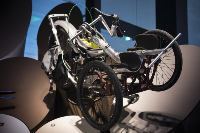 Front view if the Icon Explore prototype on display at the Canada Science and Technology Museum. The image shows the articulating frame that allows the rider to stay upright in rough backcountry environments.