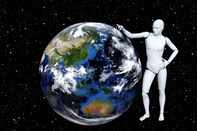 A white humanoid robot stands with their arm resting on the Earth