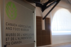 A photo of a podium that The Canada Agriculture and Food Museum.