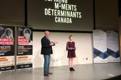 "Rob Bell and Tyya Strutt share their award-winning 2019 Defining Moments Canada project: ""The 1918 Flu Pandemic: Changing the Future through History – The defining Moments"" on May 11, 2019, at the Canada Science and Technology Museum. Photo by Sonia Mendes, Ingenium Canada."