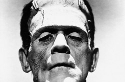 A black-and-white image of Frankenstein
