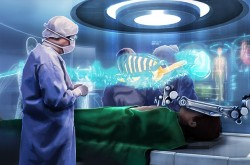A surgeon stands watch over a patient being operated on by a robot. Holograms glow in the background