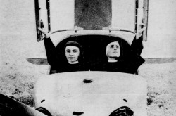 "Sisters Maria Cleofas and Maria Innocenza of the Franciscan Sisters of St. Aloysius Gonzaga aboard an AVIA / Lombardi FL.3 light / private airplane during their flight training, Turin, Italy. Anon., ""Le ciel leur appartient."" Le Soleil / Perspectives, 20 February 1960, 12."
