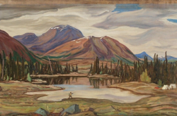 A painting depicts a lake, with trees and mountains in the background.