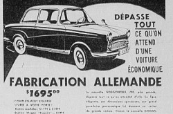 "One of the advertisements published in Québec newspapers to promote the new Glas Goggomobil T700 automobile. Anon., ""Advertisement – Eugène Roy Limitée."" La Presse, 1 April 1960, 39."