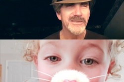 A split screen shot from a Facebook Messenger video chat showing a 60-year-old man with a digital hat and a toddler with a digital cat nose and whiskers.