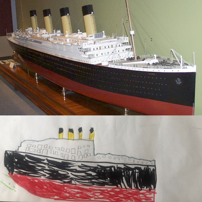 A child's drawing of the Basset-Lowke Ltd. model of the Titanic, side-by-side with an image of the artifact.