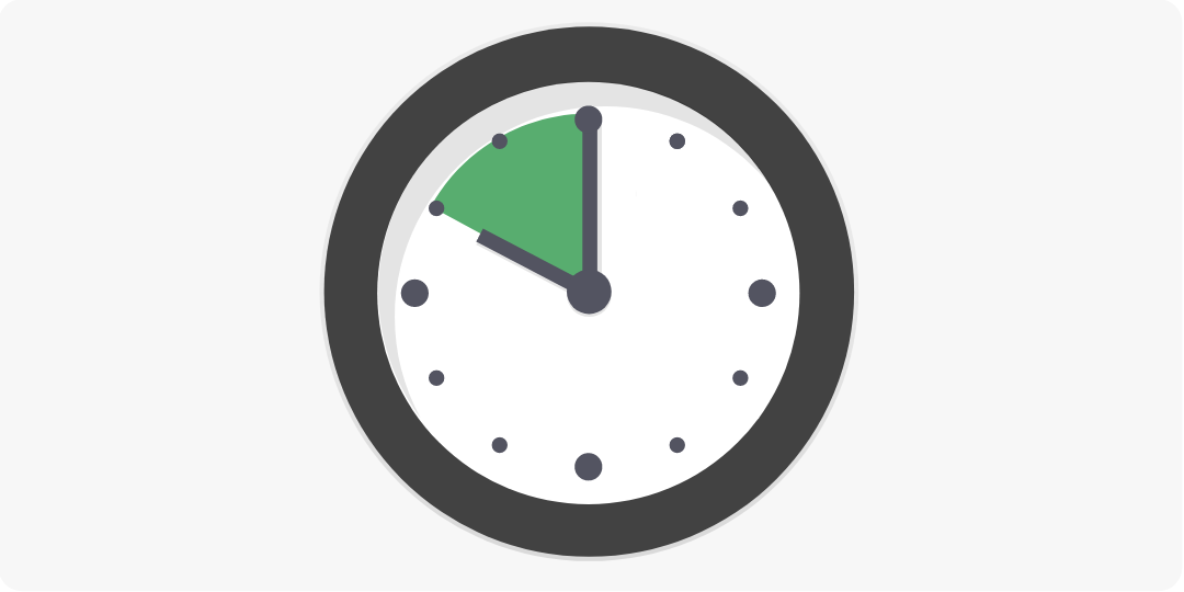 Cartoon illustration of an analog clock showing ten minutes before the hour.