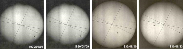 Seiries of photos of the Sun taken with the observatory's coelostat.