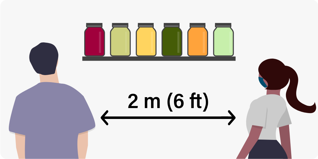 Cartoon illustration of two people in masks looking at colourful mason jars on a shelf. An arrow indicates that they are standing two metres apart.
