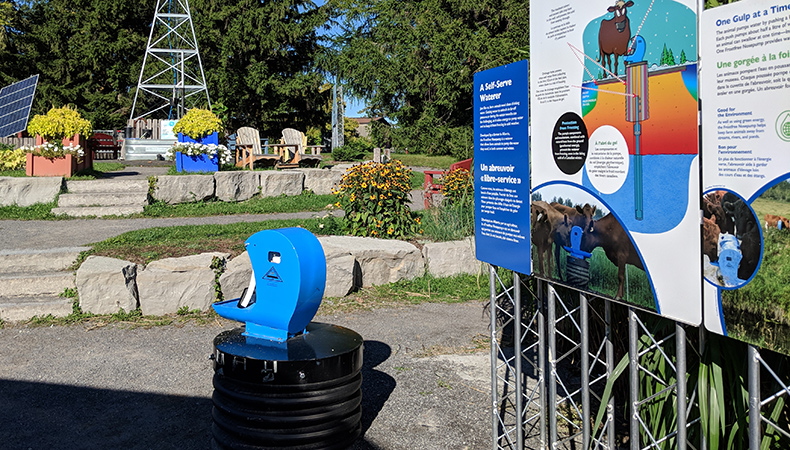A self-serve waterer on display outside at Discovery Park