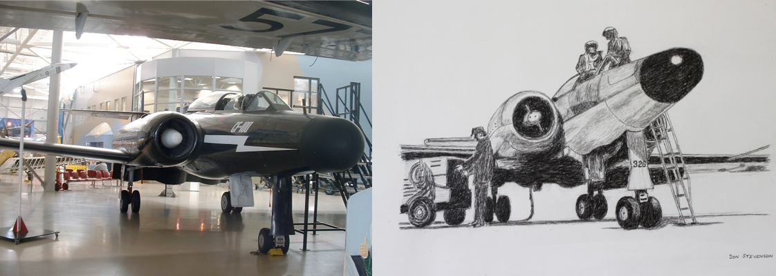 An adult's sketch of Avro Canada's CF-100 'Canuck' fighter aircraft, side-by-side with an image of the artifact.