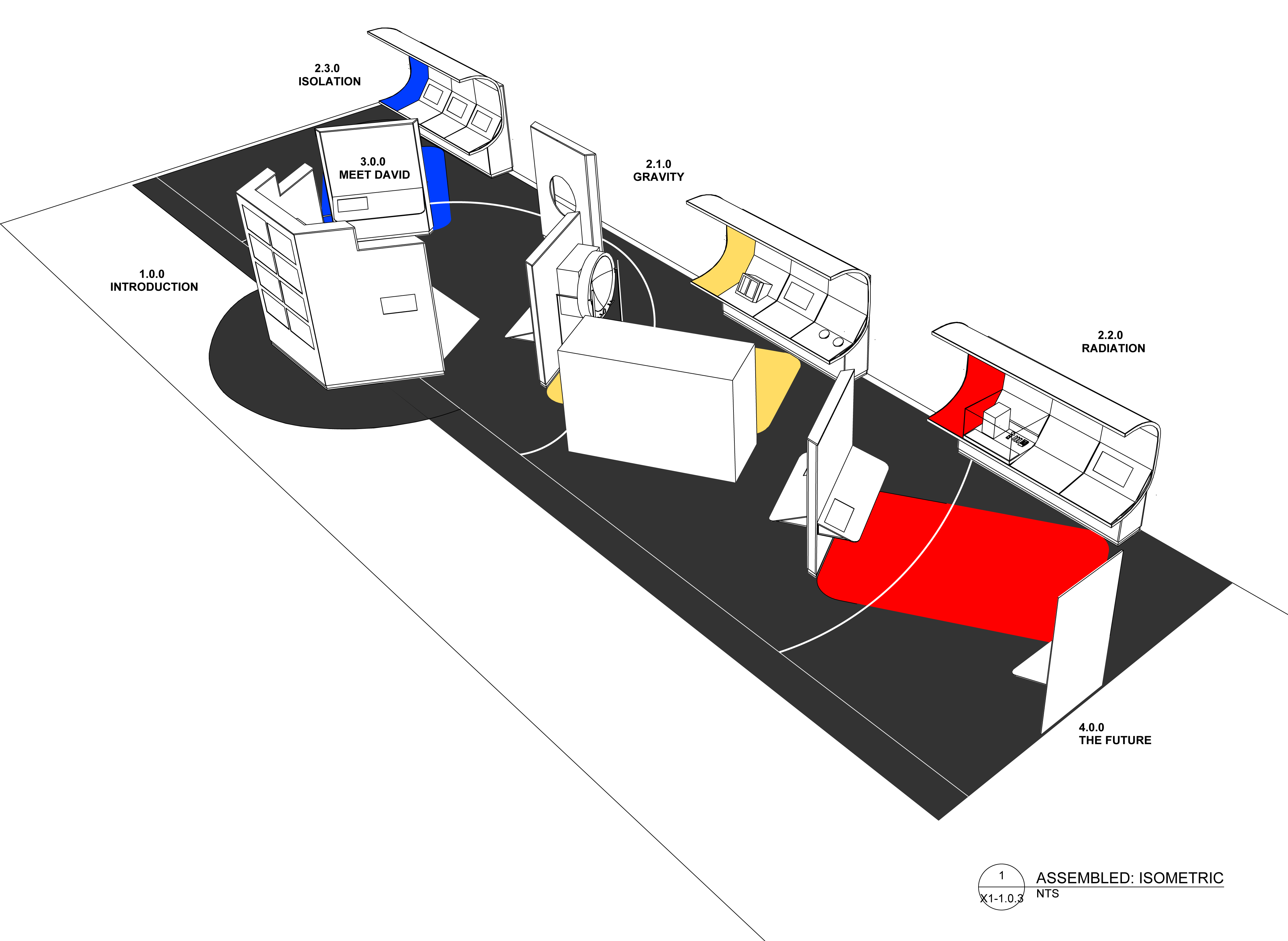 Conceptual plans for the Health in Space exhibition showing its three main sections.