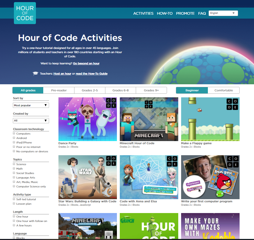 Landing page of the website Hour of code