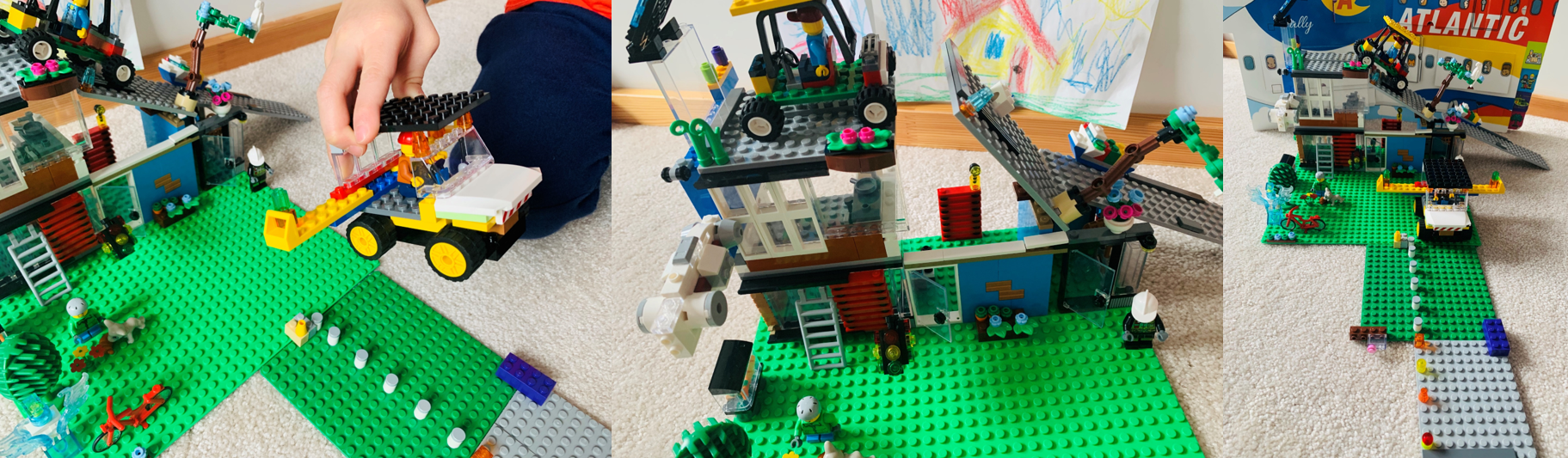 A collage of images depicting a child's LEGO® creation