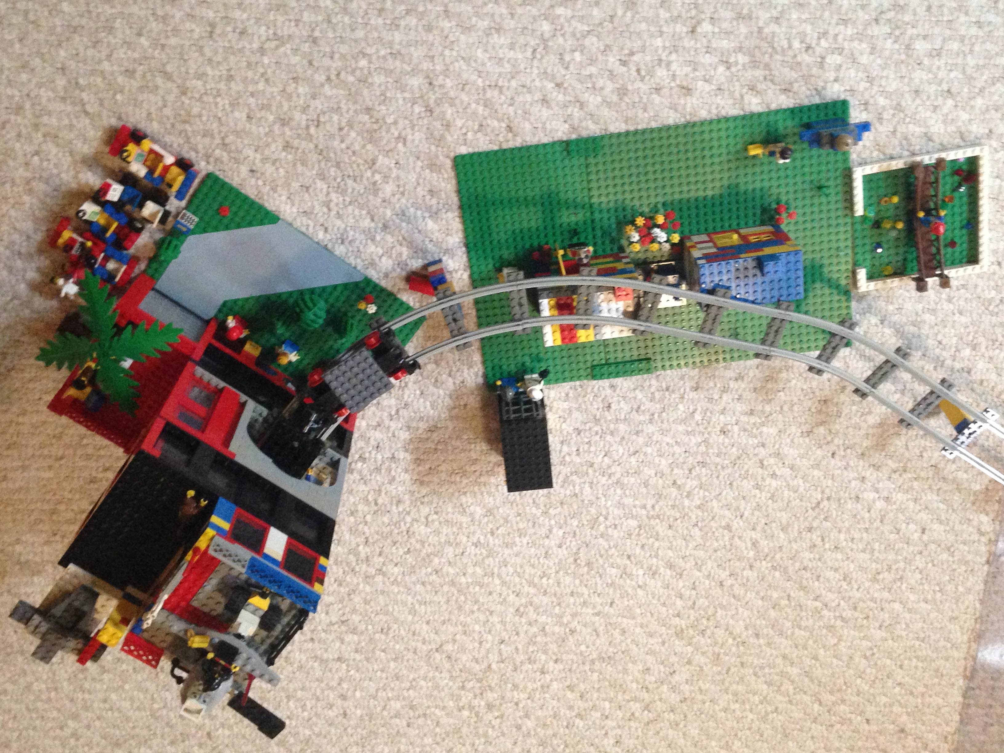 "A group's LEGO® Creation called ""Future City of Tomorrow,"" sits on the floor."
