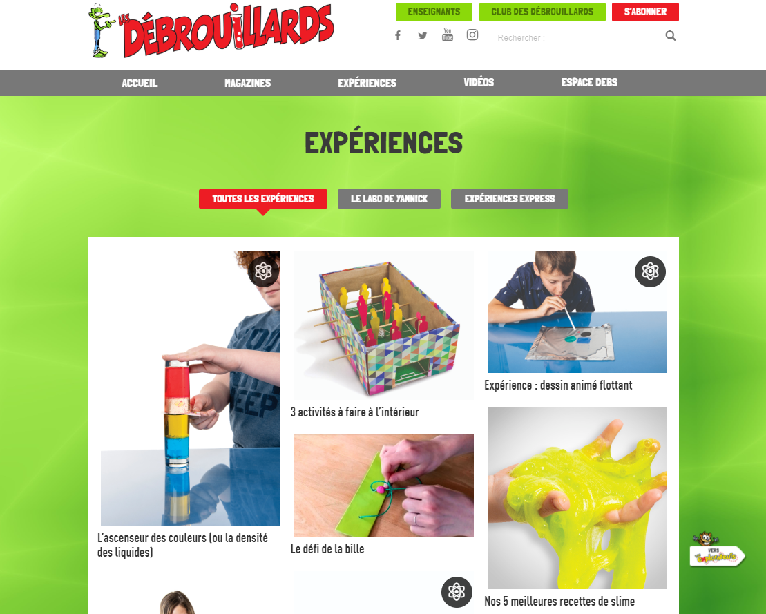 Website for Les Débrouillards, with the tab Experience selected