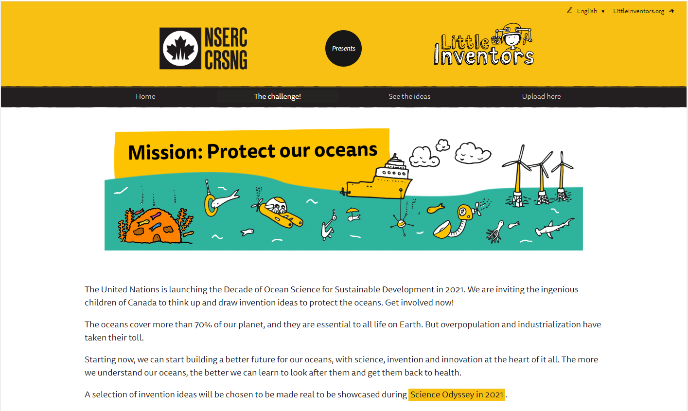 Landing page of the website Little Inventors, Mission protect our Oceans