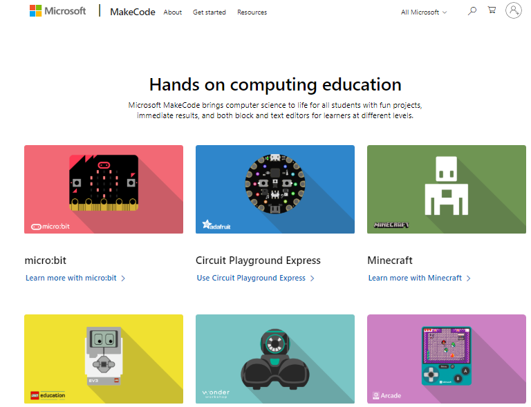 Landing page of the Microsoft MakeCode website where you choose which device you are coding for