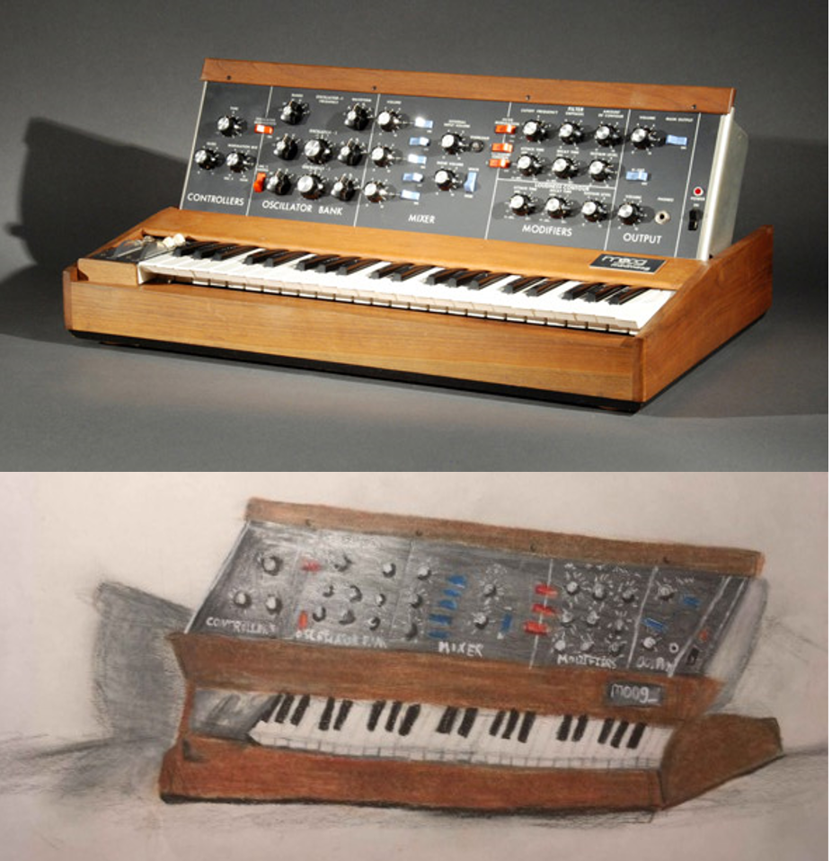 A teenager's drawing of the Minimoog Synthesizer, side-by-side with an image of the artifact.