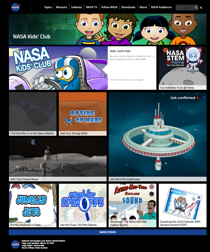 Nasa Kids' Club website landing page