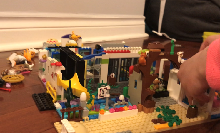 "A child's LEGO® creation, called ""The Future of the Zoo,"" sits on the floor; a child's arm is visible."