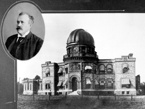 William Frederick King (inset), was the first Director of the Dominion Observatory. Photo credit: Canadian Eclipse Expedition 1905 photograph album, artifact no. 1974.0754