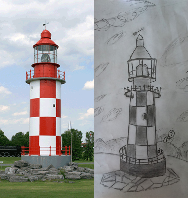 A child's drawing of the Bramah & Robinson Lighthouse, side-by-side with an image of the artifact.