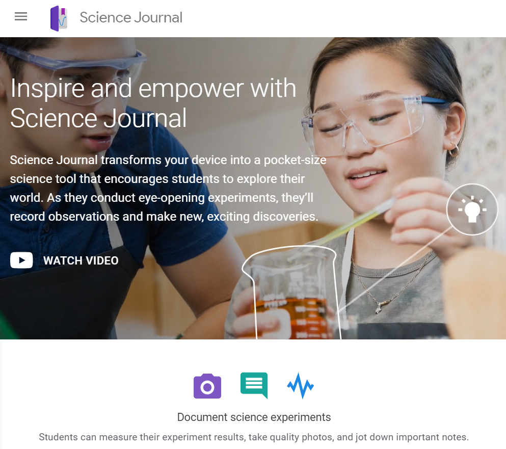 Landing page of the Science Journal by Google website