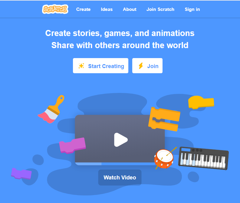 Landing page of the Scratch website