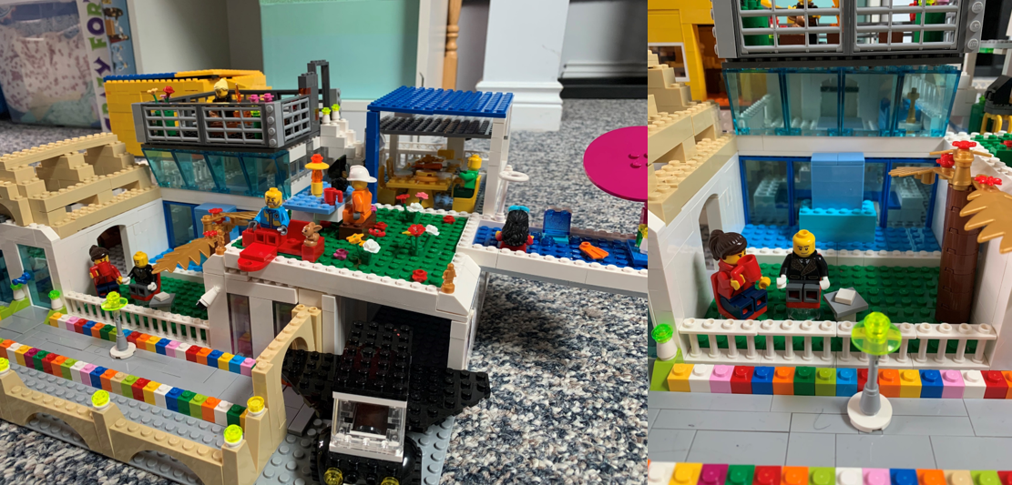 "1)	A family's LEGO® creation, called ""A Canadian Future Family House,"" sits on the floor."