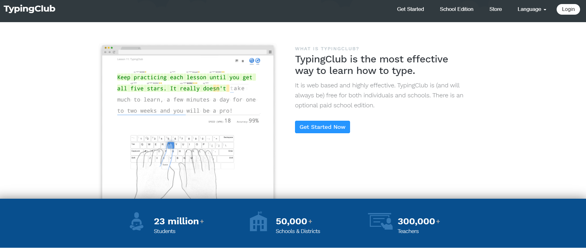 Landing page to enter the Typing Club website