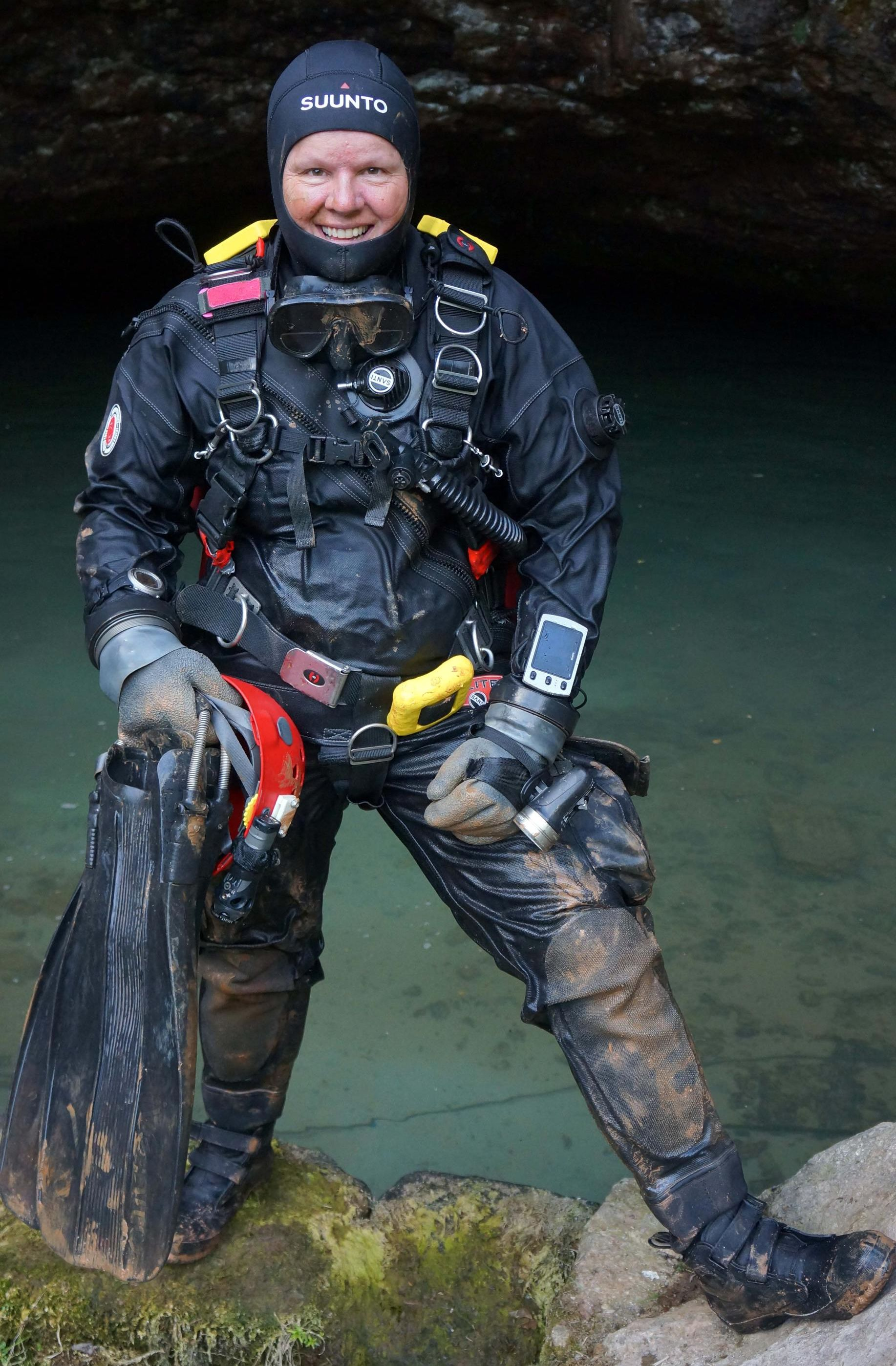 Jill Heinerth returns from a dive at Wookey Hole, UK on the 80th anniversary of the first-known cave dive.