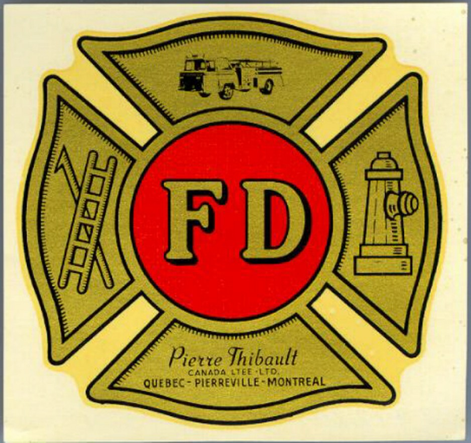 A decal made by the Canada Decalcomania Company for Pierre Thibault Canada Ltée, a manufacturer of fire trucks