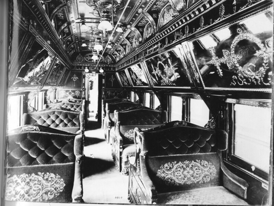 A highly decorated sleeper car, ca 1890