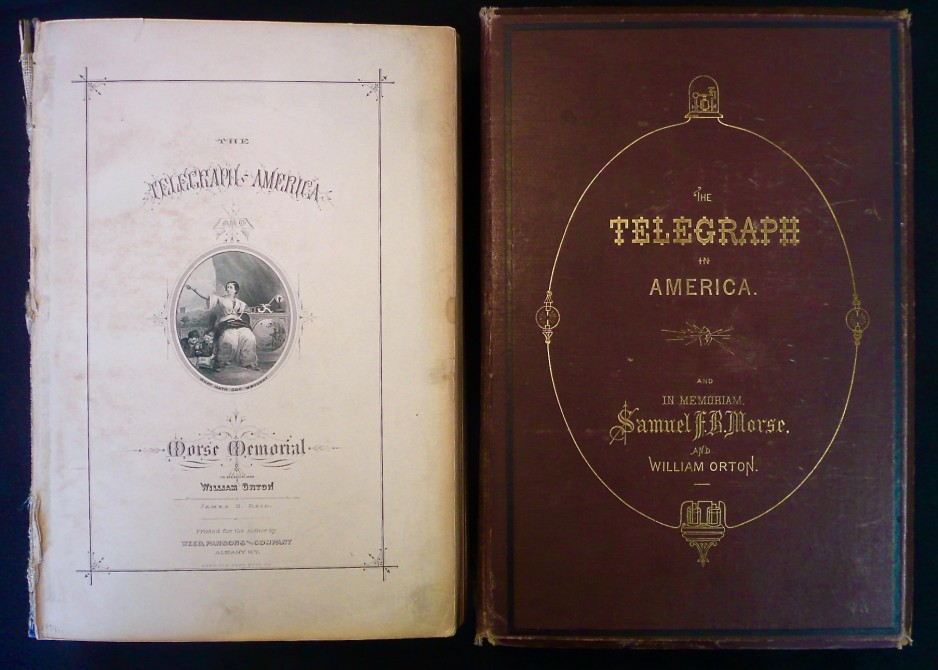 Cover and title page of John Horn's volume of The Telegraph in America. The book is in fair condition. The cover, however, was dislocated from the book before it arrived at Canada Science and Technology Museum.