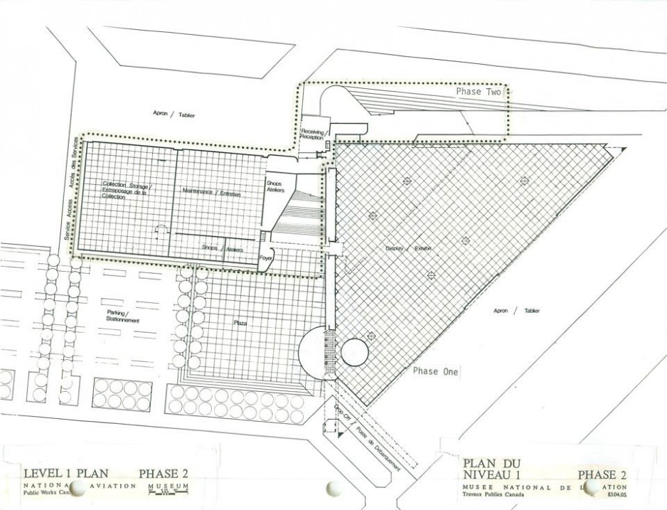 Level 1 plans showing Phase 2 of National Aviation Museum construction.