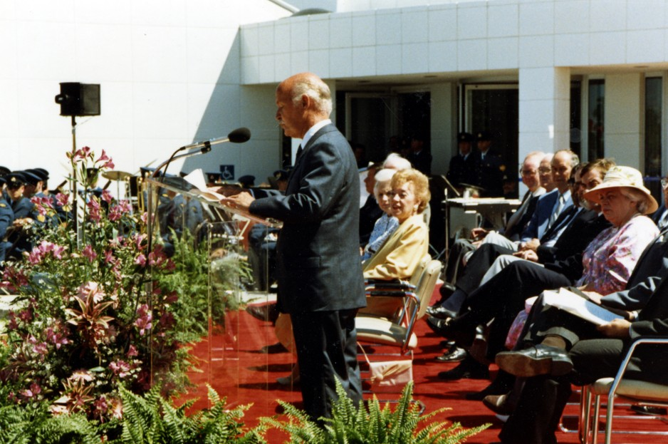 Museum director R.W. Bradford delivering a speech on opening day for the National Aviation Museum, June 17, 1988.