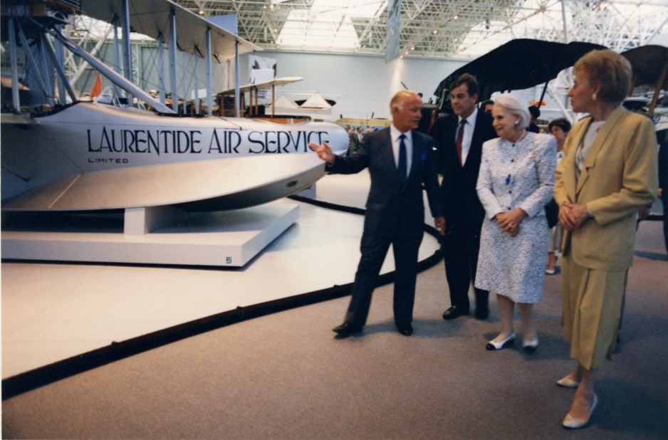 Museum director R.W. Bradford with the Right Honourable Jeanne Sauvé, Governor General of Canada, (second from right) and Flora MacDonald, Minister of Communications (far right) on opening day for the National Aviation Museum, June 17, 1988.