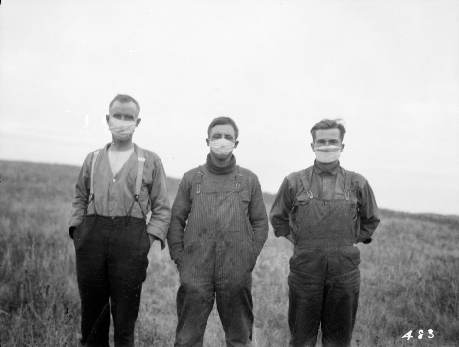 Alberta men wearing masks