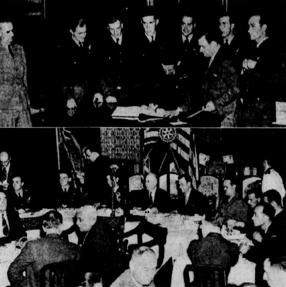 "Laporte and his crew signing the city of Québec guest book (top photograph) and at the luncheon of the Club Rotary de Québec. Anon., ""Réception aux Alouettes."" Le Soleil, 14 August 1945, 1."