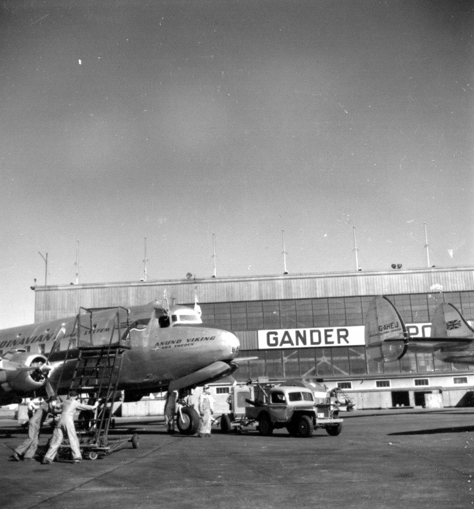 A Swedish airliner being serviced at the airport in 1948.