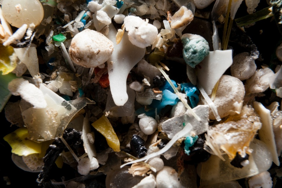 A pile of microplastics filtered from seawater.
