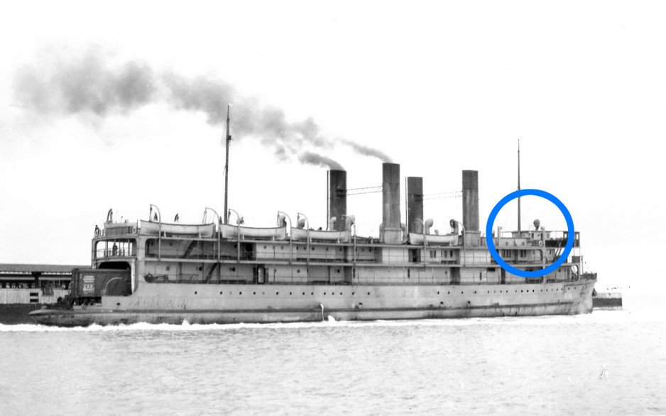 A black-and-white image of the SS Prince Edward Island, with a blue circle indicating the location of the pilot house.