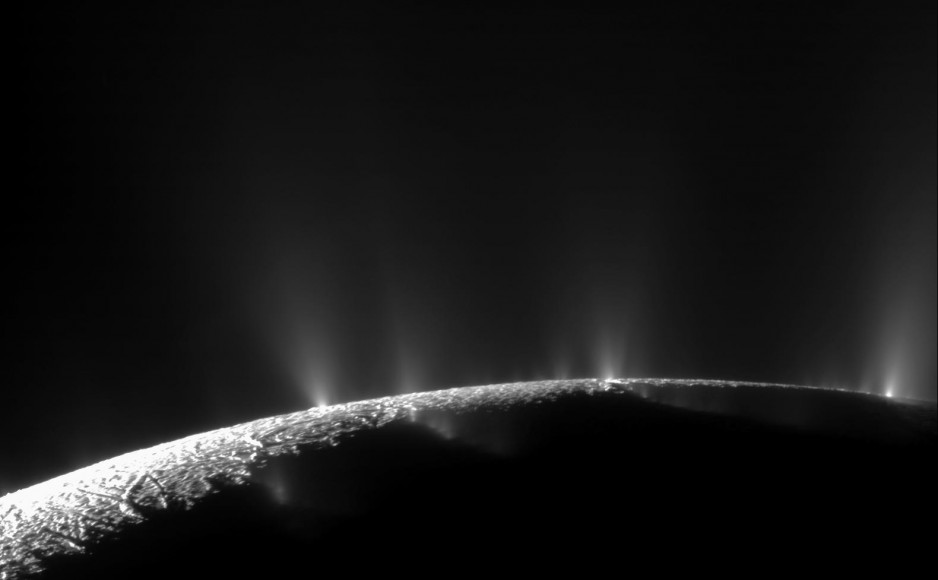 Taken by the Cassini Spacecraft, this image shows the water geysers of Enceladus