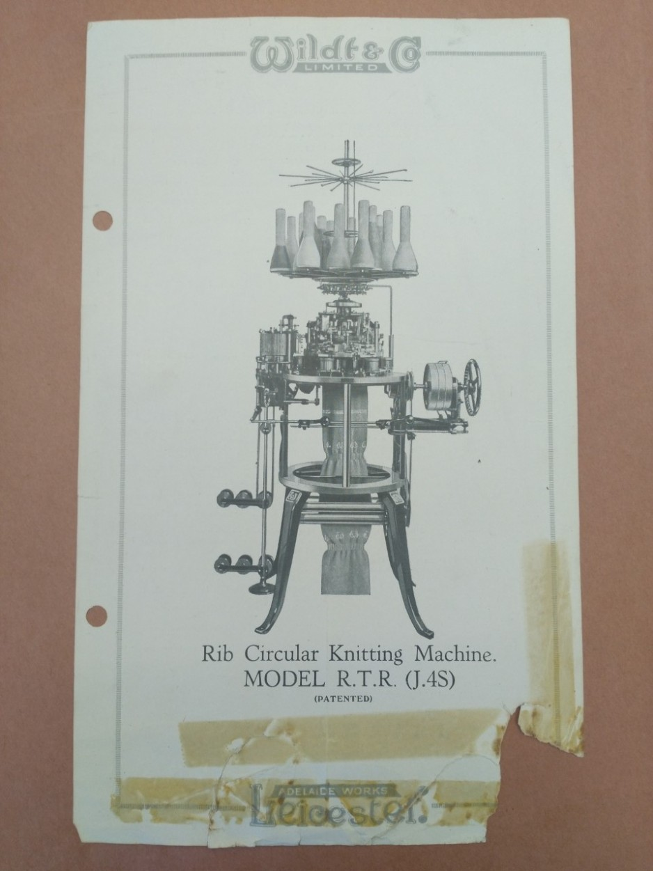 An old page from a specifications manual shows an image of an industrial knitting machine.