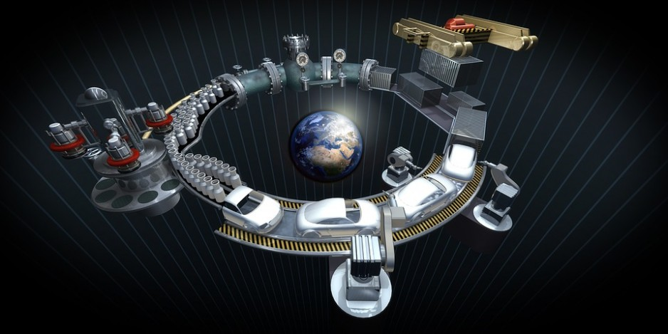 A stylized image of a circular car manufacturing process spinning around the Earth