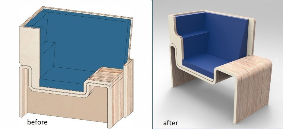 Two images show the early design and the final design of the chair