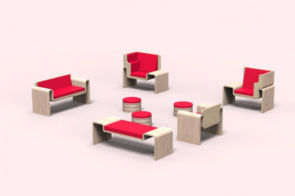 Eight different seating options grouped together, made of a pale wood with bright red cushions