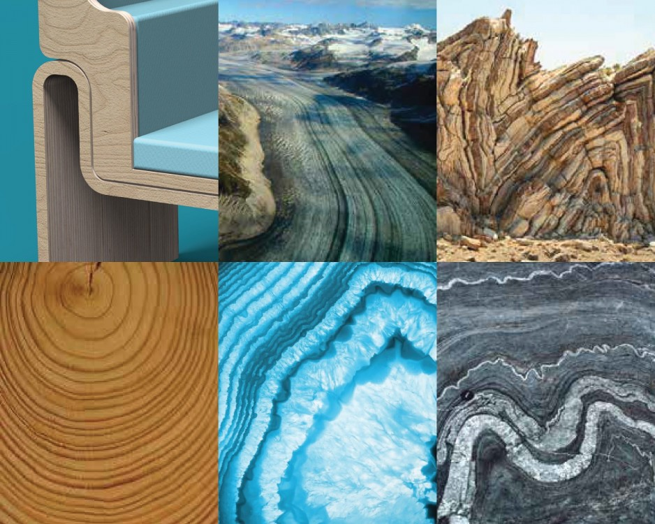 Six images in blue and brown tones, showing winding roads, rock formations, and wood grains that gave inspiration to the chair's design